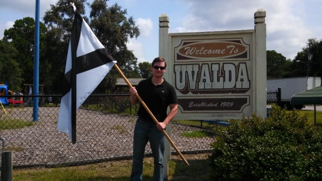 Brad Griffin with the southern white nationalist flag: Trump Supporter